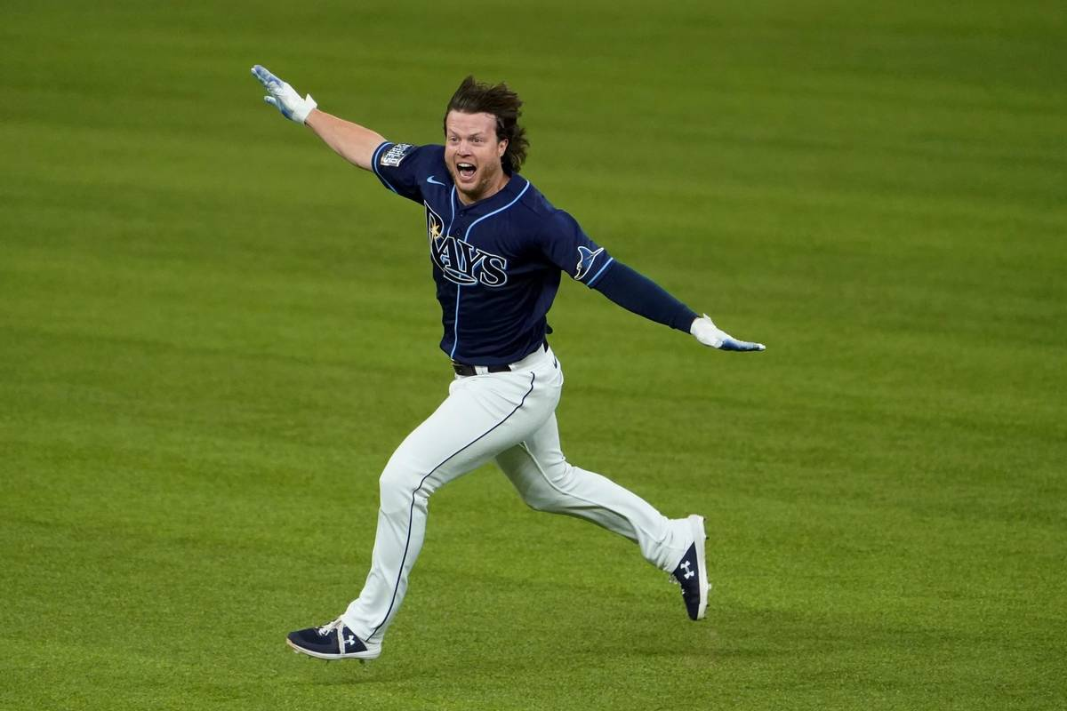 Tampa Bay Rays' Brett Phillips (14) celebrates the game winning hit against the Los Angeles Dod ...