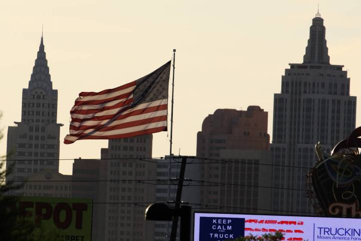 New York New York is seen as a large American flag blows in the wind during a cool and windy mo ...