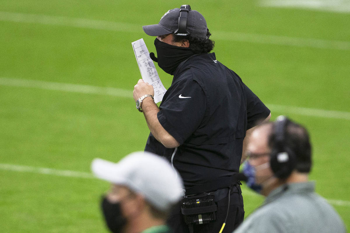 Las Vegas Raiders defensive coordinator Paul Guenther calls plays from the sideline during the ...