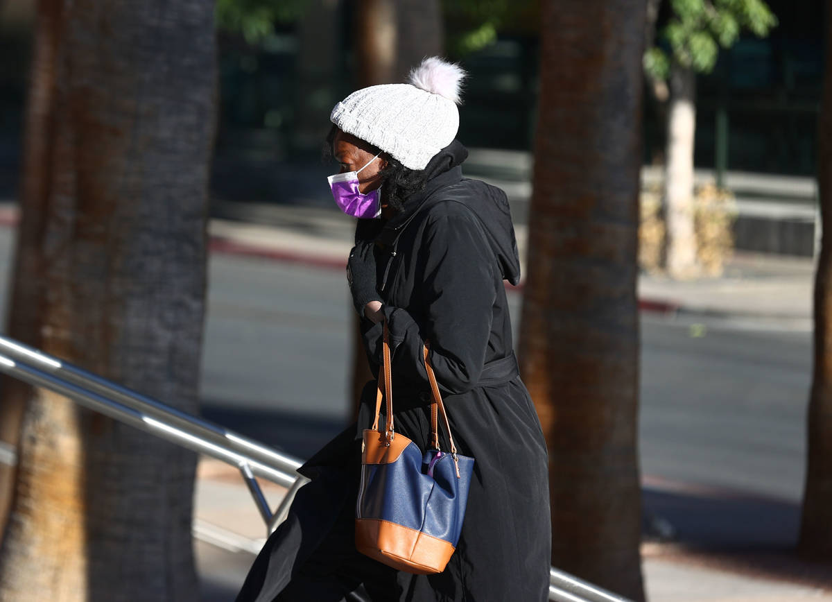 A woman bundled up for cold weather as she stands in line outside of the Regional Justice Cente ...