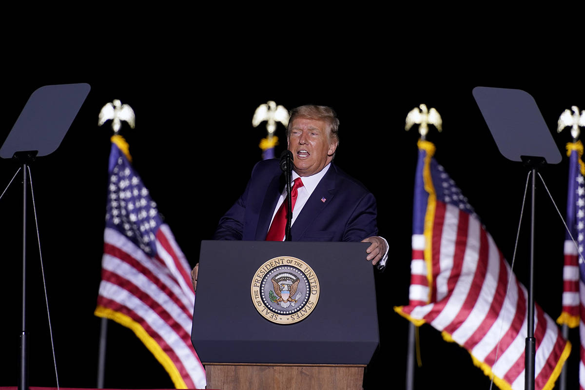 President Donald Trump speaks at a rally at Minden-Tahoe Airport in Minden on Saturday, Sept. 1 ...