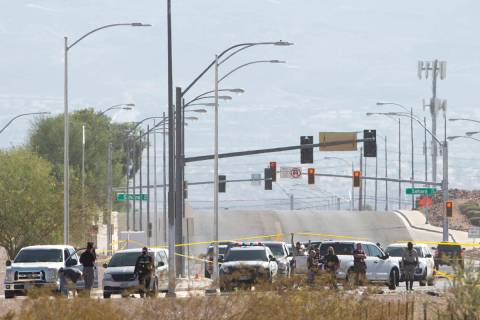 Las Vegas police investigate a double fatal incident at the intersection of Sahara Avenue and H ...