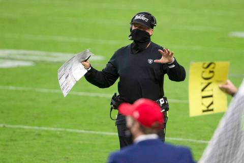 Las Vegas Raiders head coach Jon Gruden gestures on the sideline during the 4th quarter of an N ...