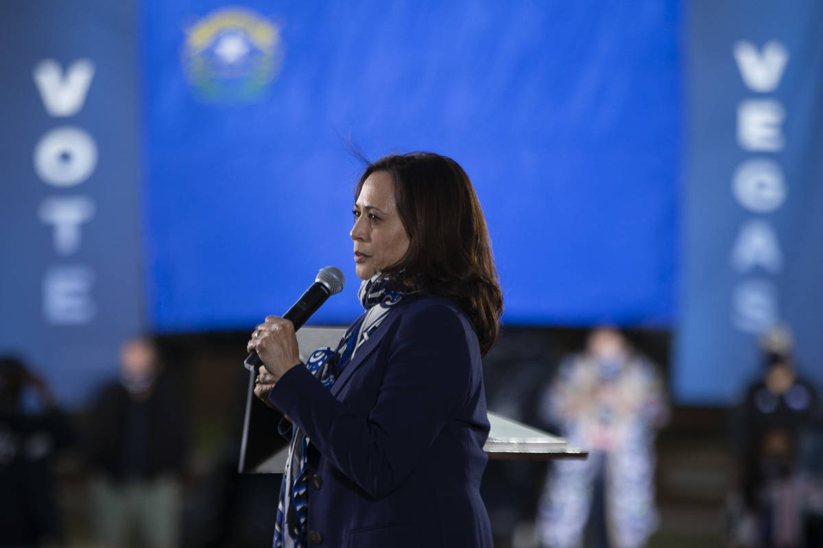 Vice presidential candidate Sen. Kamala Harris takes a serious tone for a moment while campaign ...