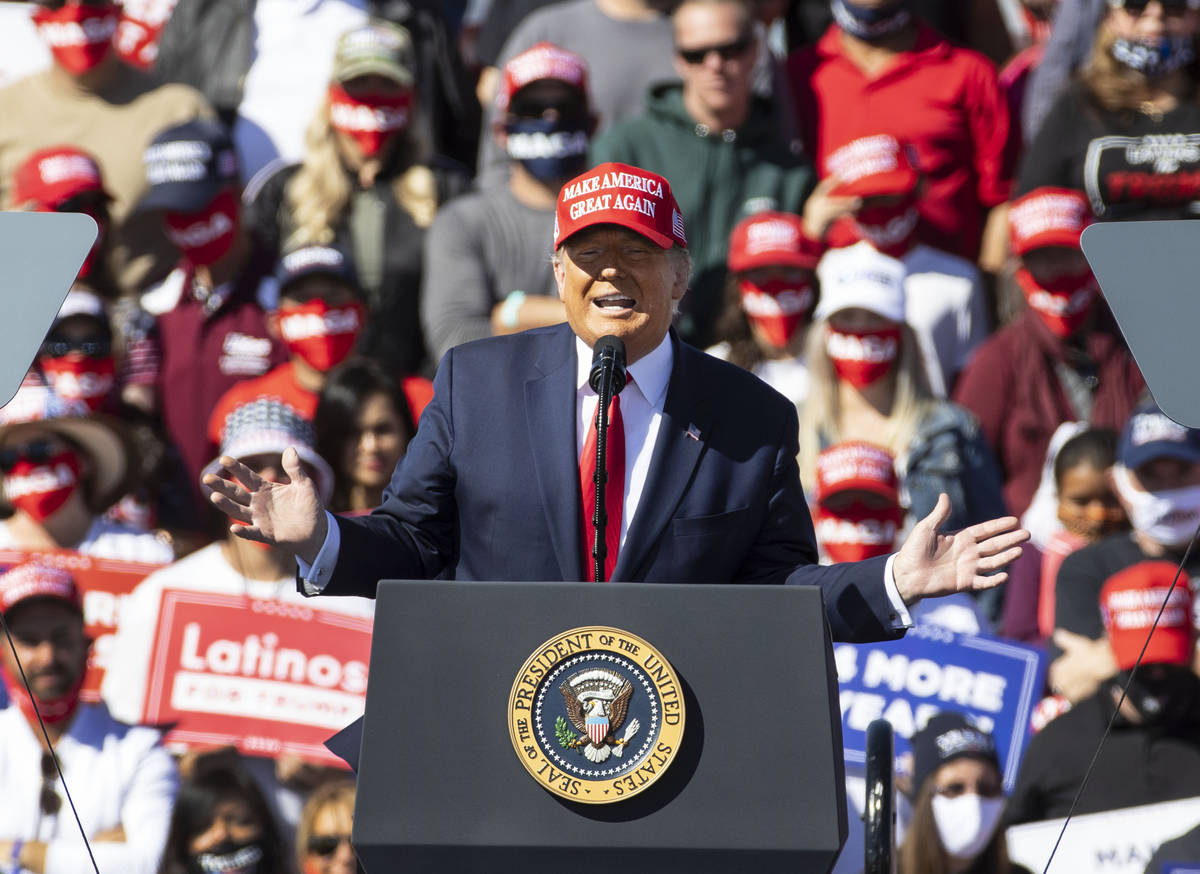 President Donald Trump speaks during Make America Great Again victory rally at Laughlin/Bullhea ...