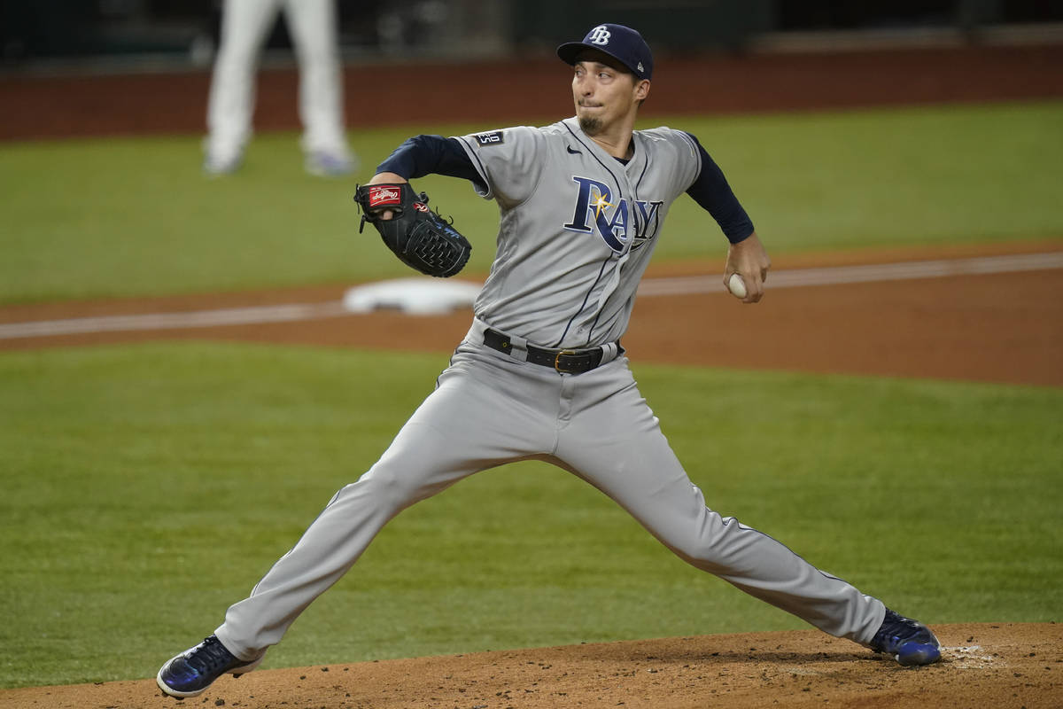 Tampa Bay Rays starting pitcher Blake Snell throws against the Los Angeles Dodgers during the f ...