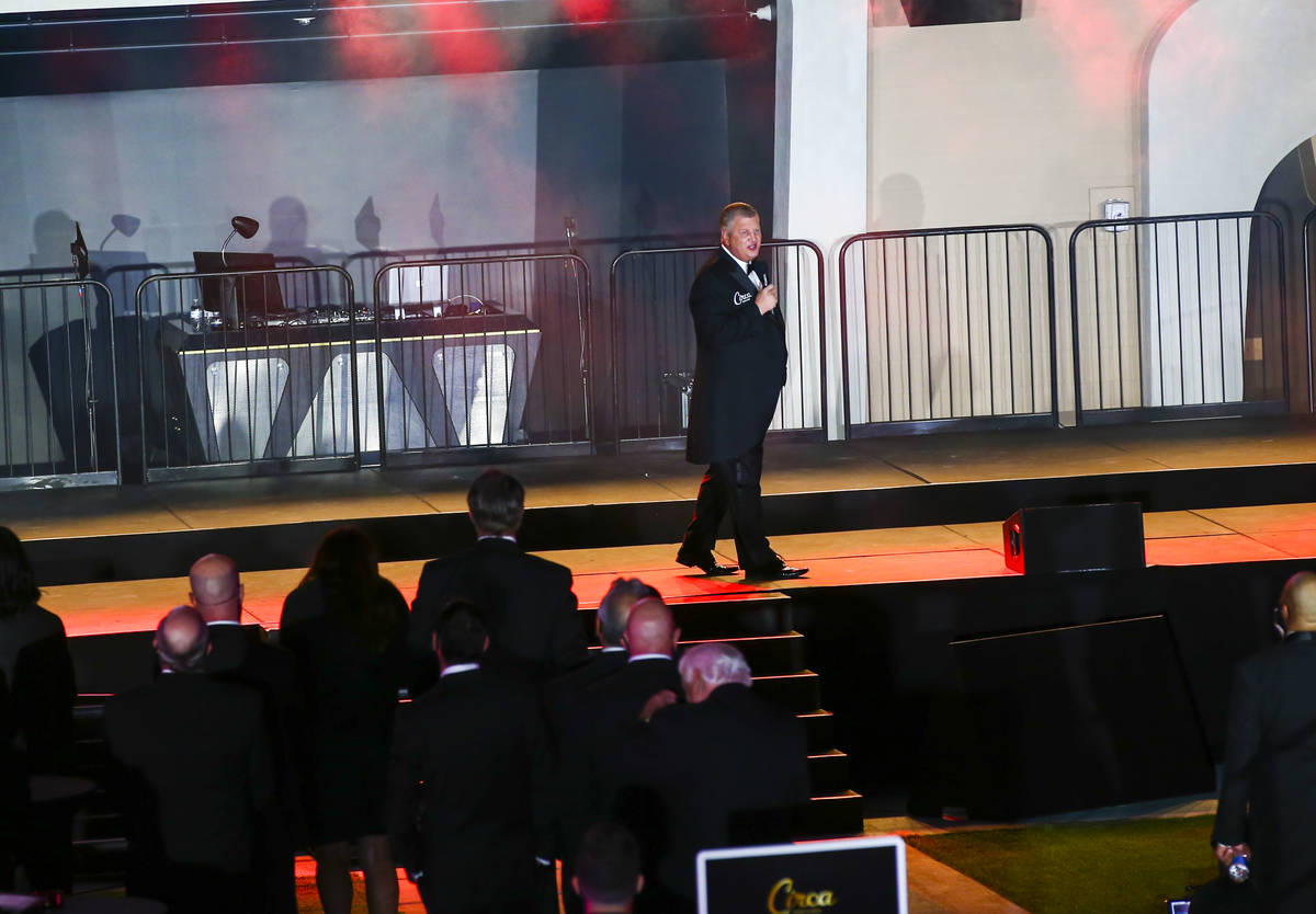 Circa owner Derek Stevens speaks at Stadium Swim during the VIP black-tie grand opening event i ...