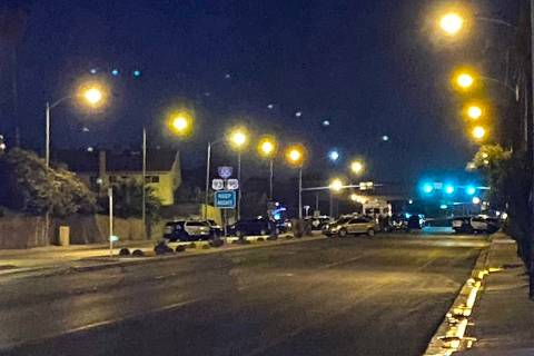 Las Vegas police investigate a suspected murder-suicide near U.S. 95 and East Flamingo Road on ...
