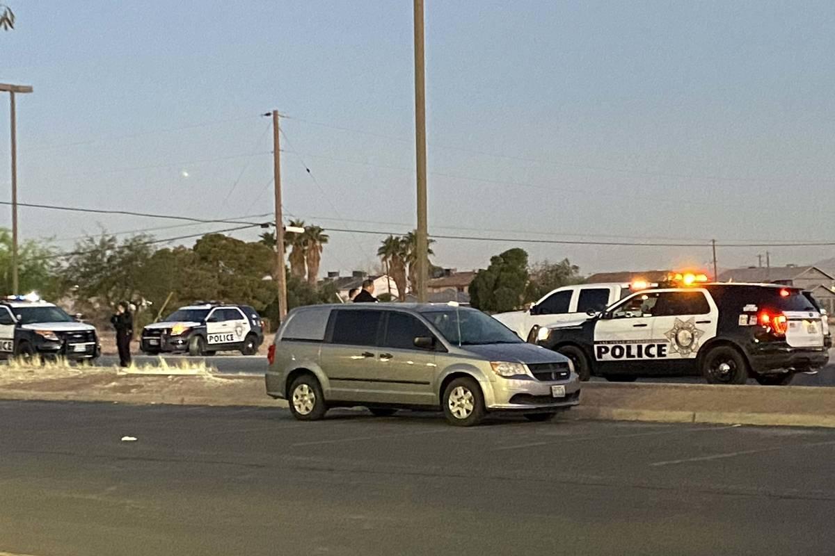 Las Vegas police investigate a homicide on the 2000 block of North Nellis Boulevard near Lake M ...