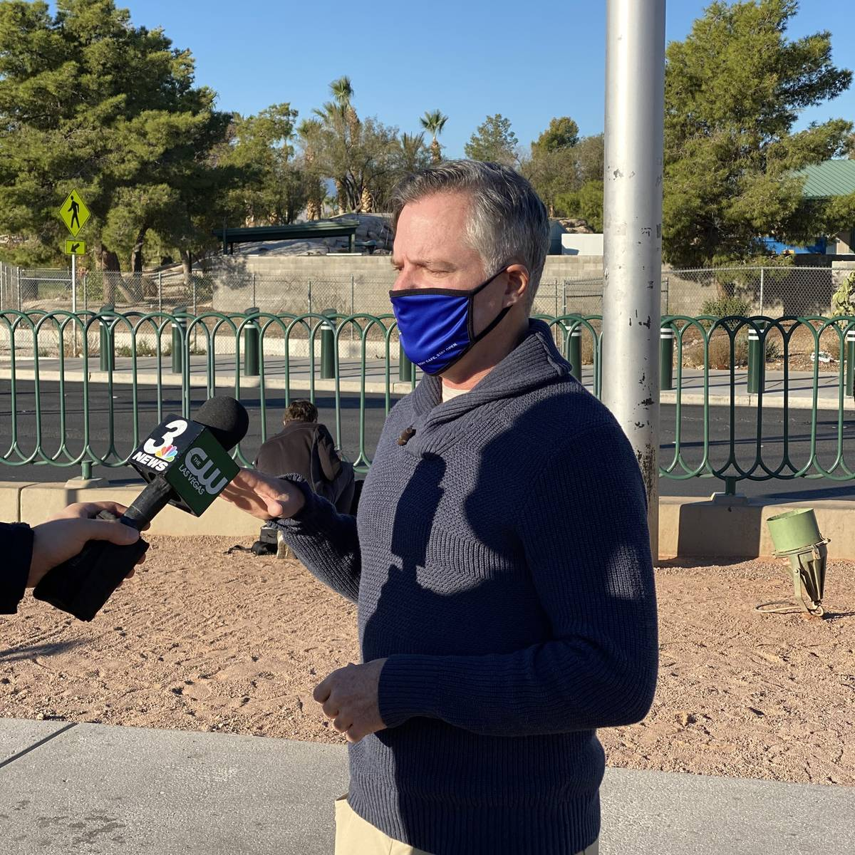 COVID-19 Task Force Chairman Jim Murren is shown at the Welcome to Fabulous Las Vegas sign duri ...
