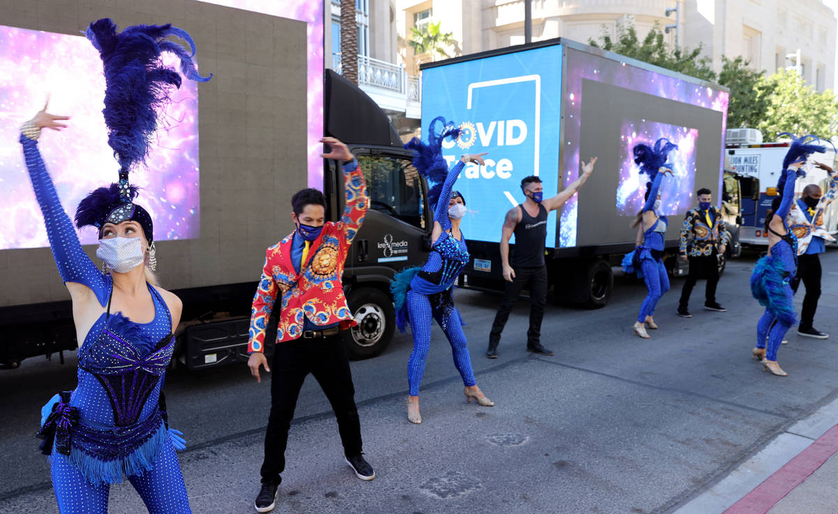 Las Vegas performers, including Chloe Bunce, left, put on a show at the The Smith Center for th ...