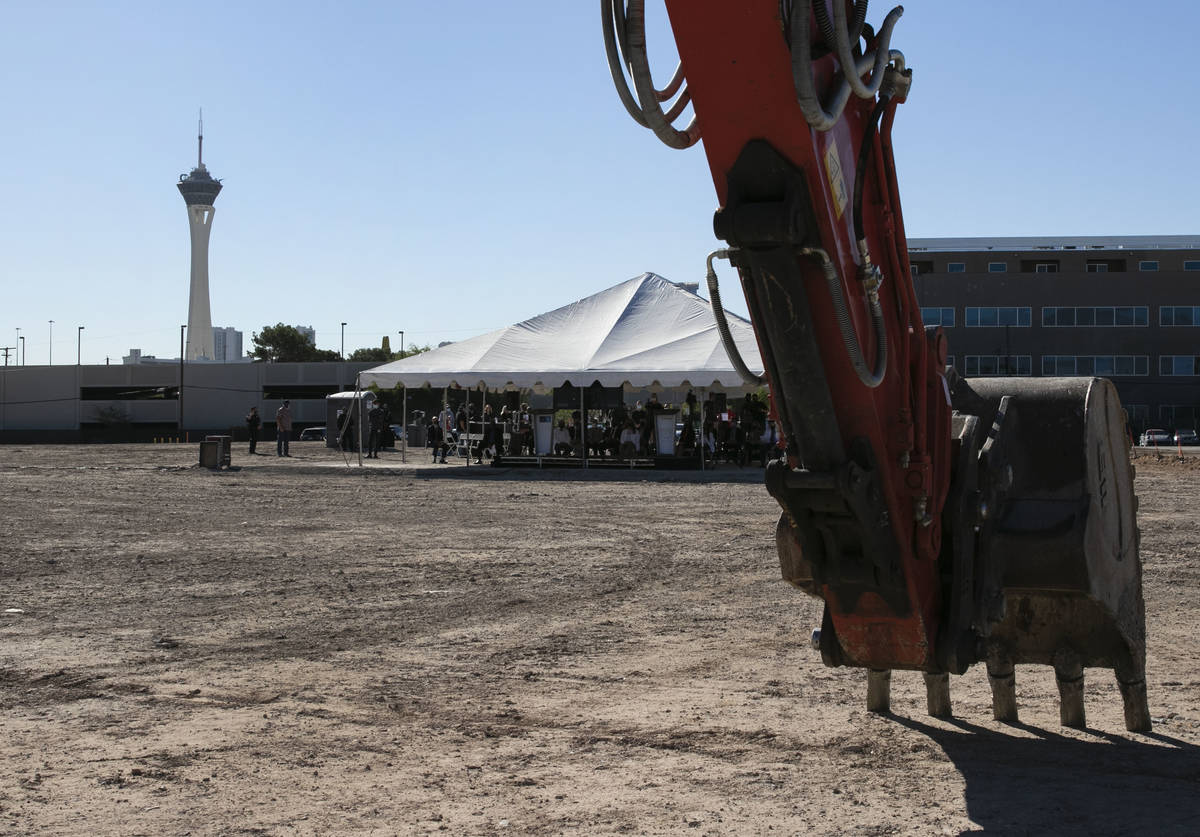 Heavy equipment is seen at the site of the future UNLV School of Medicine's medical education b ...