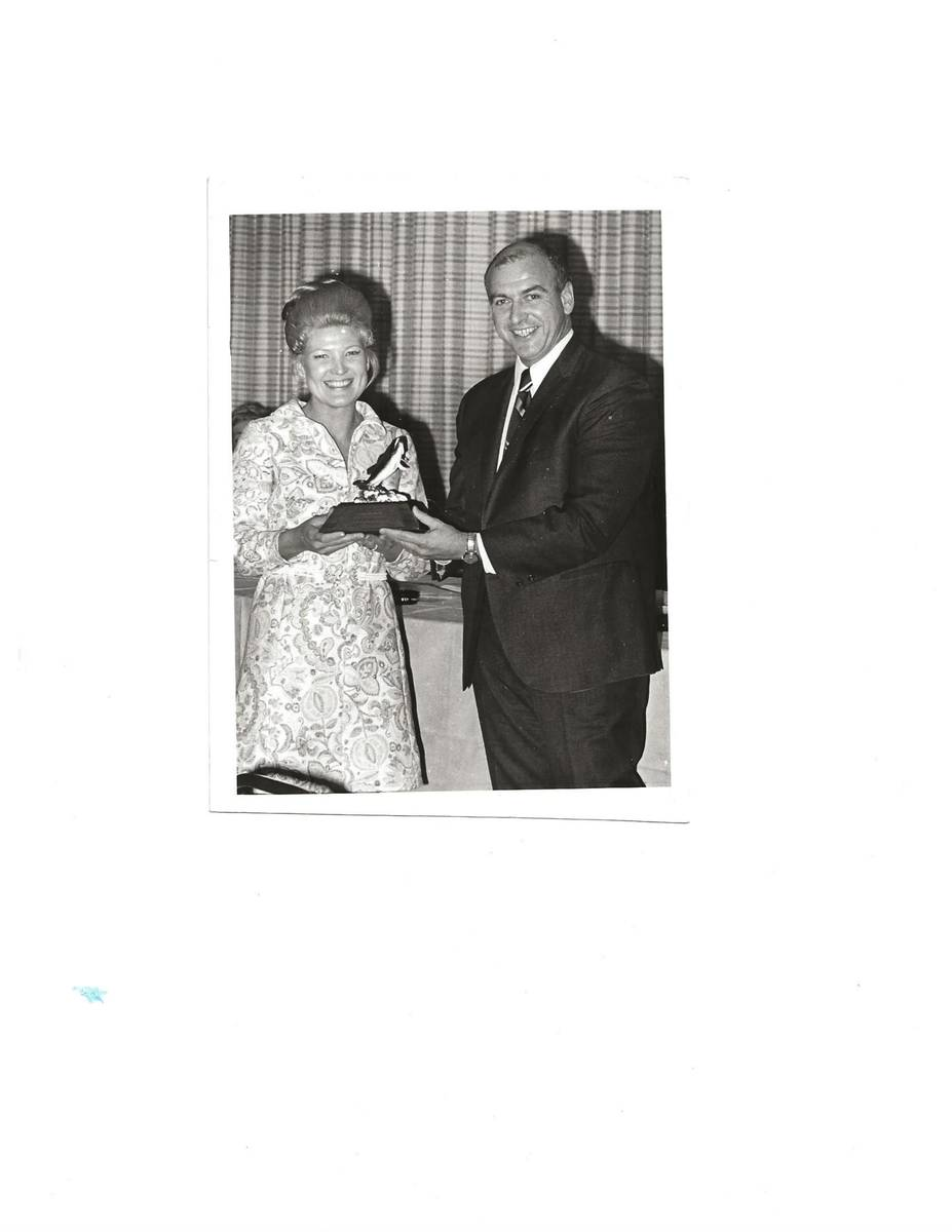Mary Kozlowski Pichot receives a commendation from Nevada Gov. Mike O'Callaghan in 1971. (Court ...