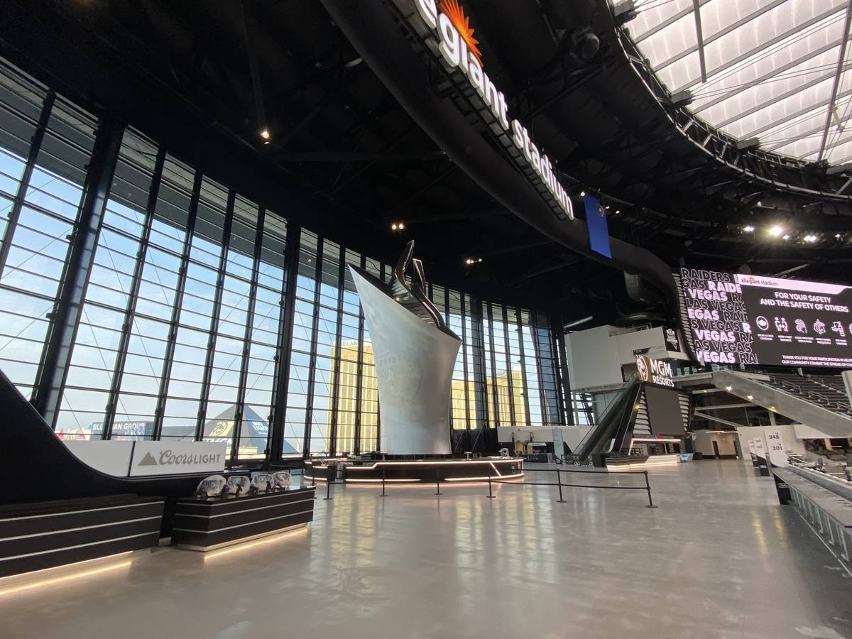 The Coors Light Landing space inside Allegiant Stadium which includes the 93-foot-tall Al Davis ...
