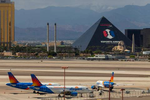 Las Vegas-based Allegiant Air airplanes are sitting on the tarmac at McCarran International Air ...