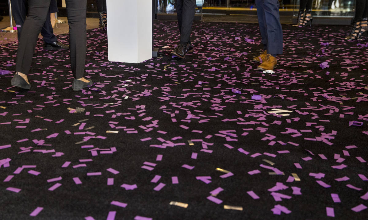 Confetti covers the carpet during the reopening celebration for the The Cromwell as a new 21-on ...