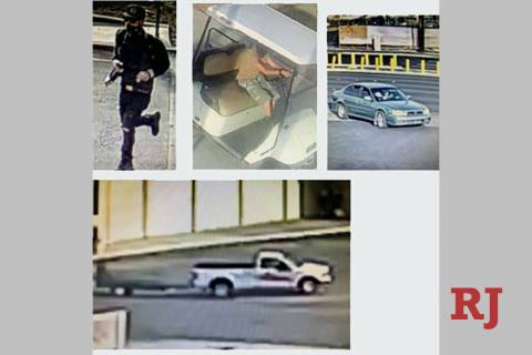 The UNLV police department released these photos of suspects and vehicles that might be linked ...