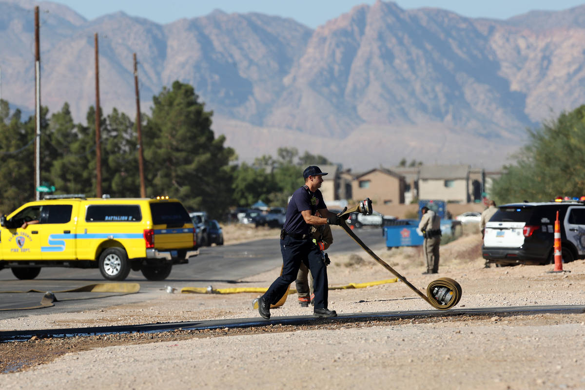 The scene of an airplane crash near the intersection of Pebble Road and South Valley View Boule ...
