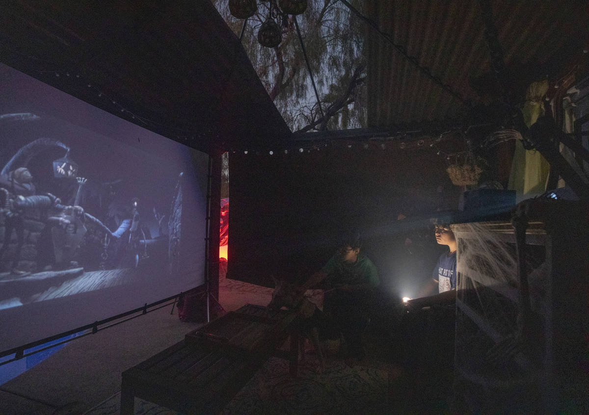 The Nightmare Before Christmas plays in the Garcias' homemade movie theatre in the backyard of ...