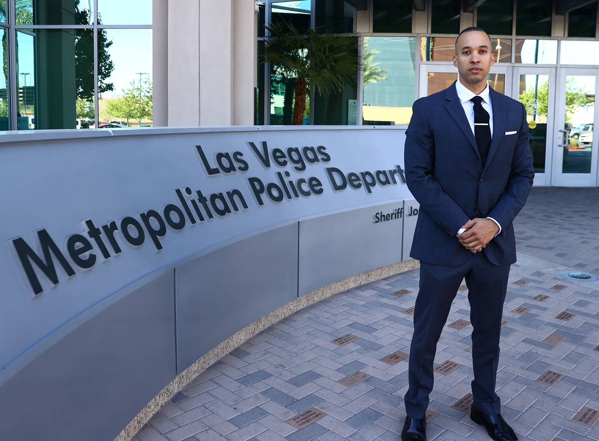 Solomon Coleman, a former officer who is suing the department, poses for a photo outside Metrop ...