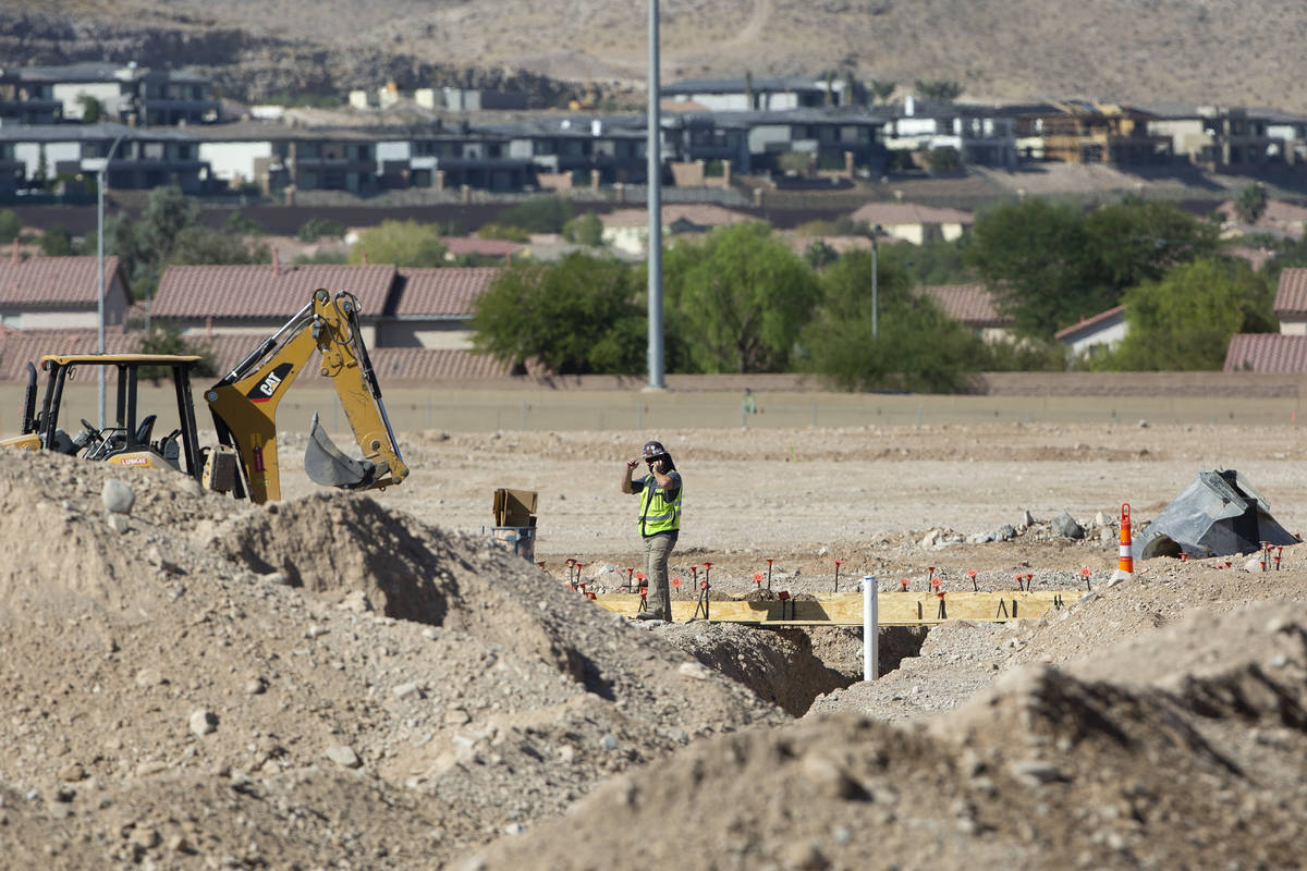 A construction worker at the site of Ariva, an apartment complex to-be on Las Vegas Boulevard n ...