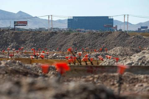 Construction workers at the site of Ariva, an apartment complex to-be on Las Vegas Boulevard no ...
