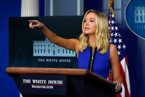White House press secretary Kayleigh McEnany speaks during a press briefing at the White House, ...