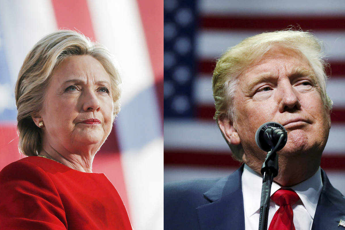 U.S. Democratic presidential nominee Hillary Clinton on November 7, 2016 and Republican preside ...