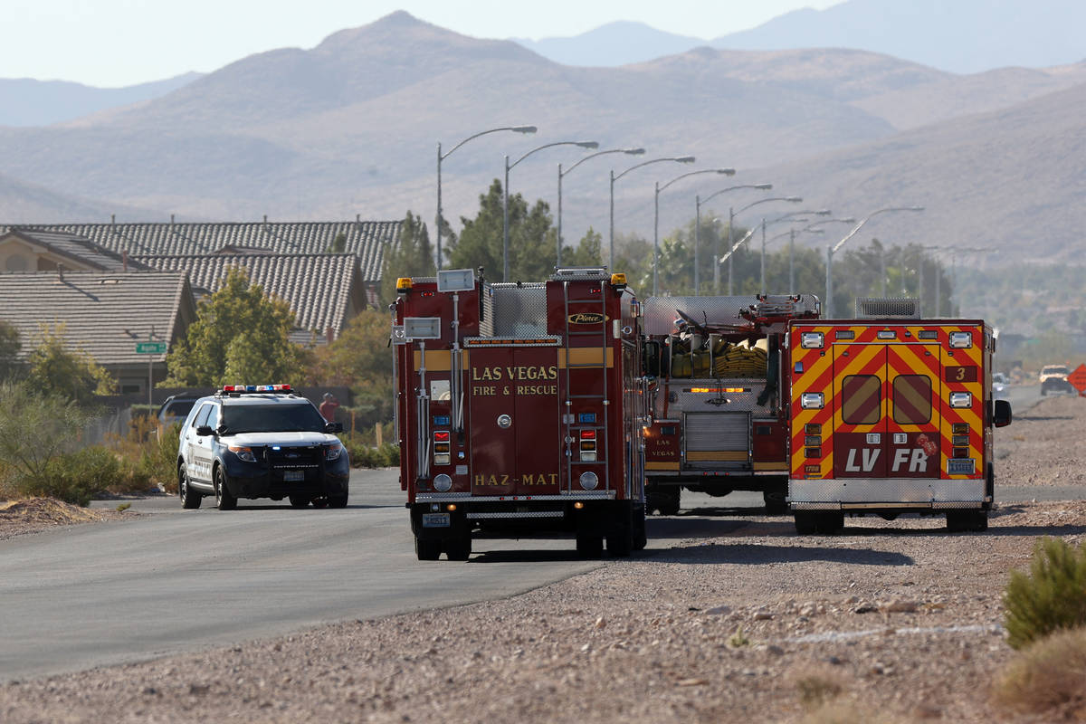 The scene of an airplane crash near the intersection of Pebble Road and S Valley View Boulevard ...