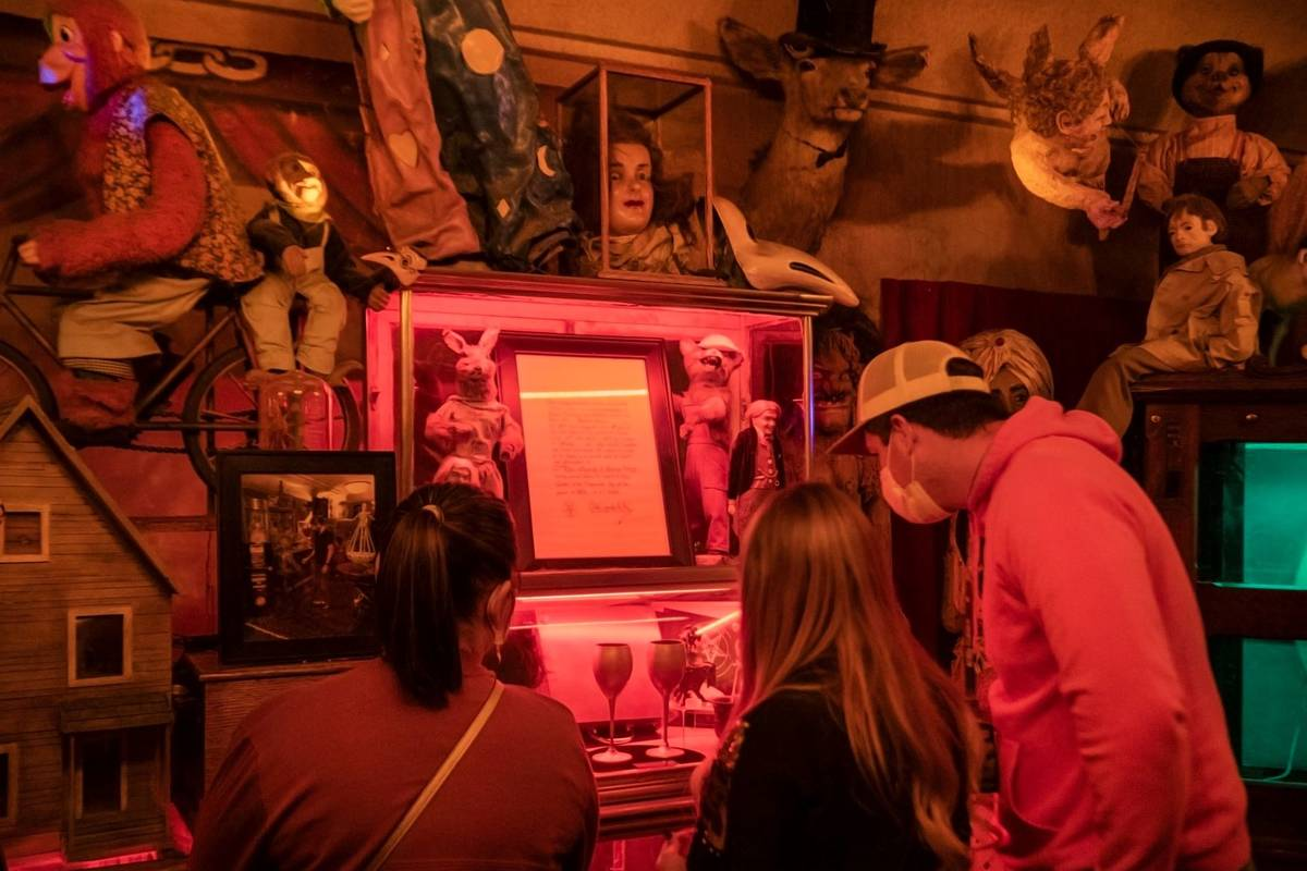 Tourists from Jackson, Georgia, take a tour of Zak Bagans' The Haunted Museum on the eve of Hal ...