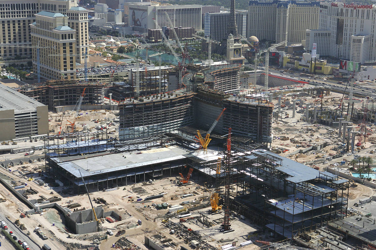 Multiple cranes are seen at the CityCenter construction site June 1, 2007, in Las Vegas. (Las ...
