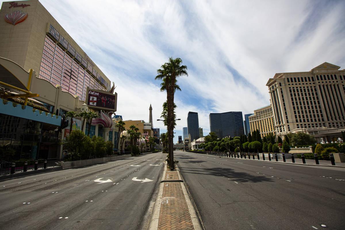 An empty Las Vegas Strip on Thursday, April 16, 2020. (Chase Stevens/Las Vegas Review-Journal) ...