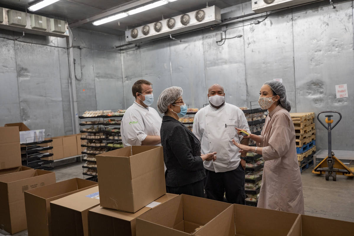 From left, Ideal Foods executive chef Zachary Lamphere, U.S. Small Business Association Adminis ...