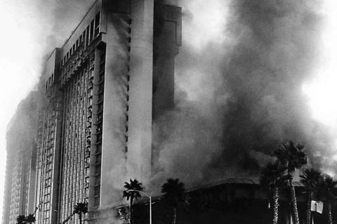 In this Nov. 21, 1980, file photo, fire rages through the MGM Grand hotel in Las Vegas. (Las Ve ...