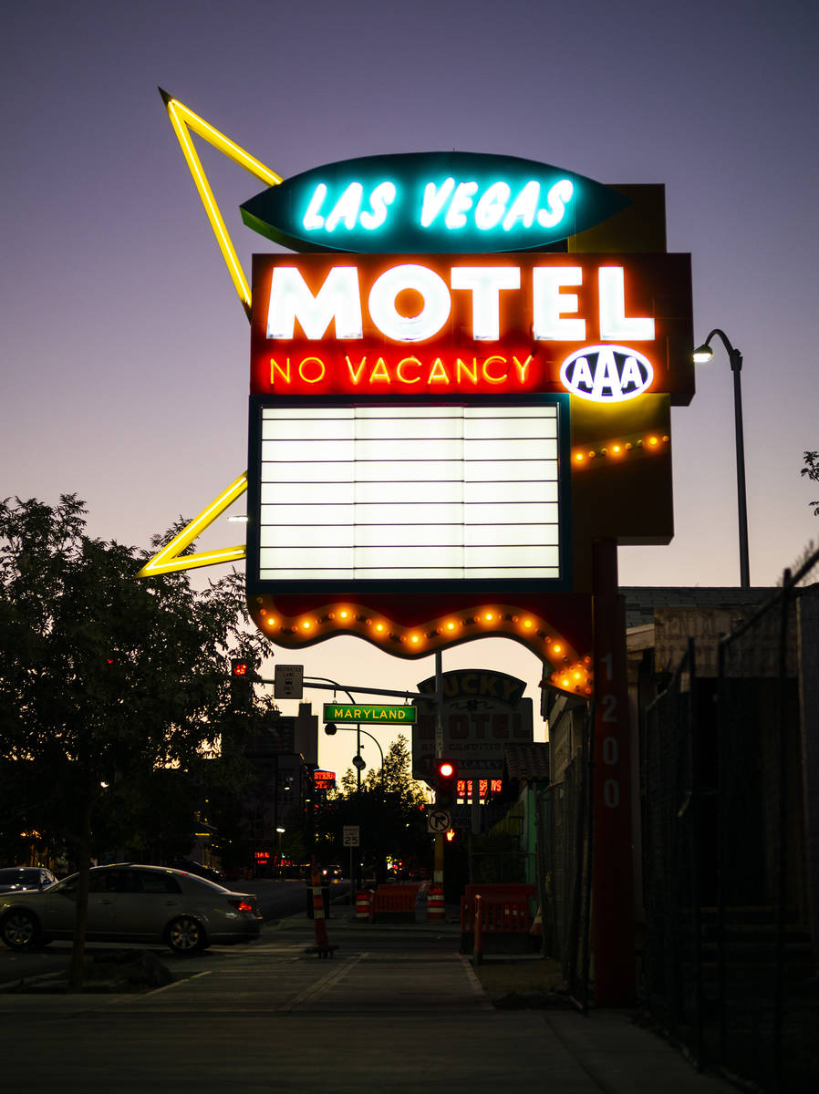 The Las Vegas Motel sign on East Freemont Street was refurbished with handblown glass tubes. (C ...