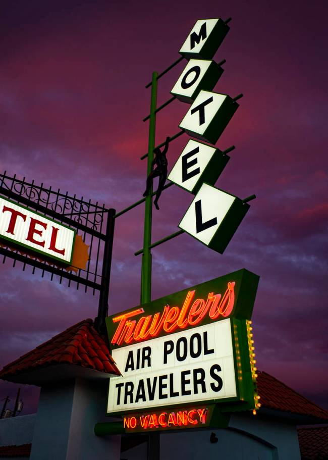 A sign at the Travelers Motel on East Fremont Street was refurbished and reinstalled as part of ...