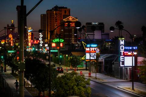 Some of the recently refurbished and reinstalled neon signs, including the Las Vegas Motel and ...