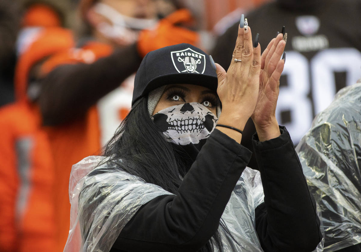 Las Vegas Raiders fans at FirstEnergy Stadium during an NFL football game against the Clevelan ...