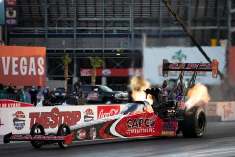 Top Fuel driver Steve Torrence races in the Dodge NHRA Finals at Las Vegas Motor Speedway on Su ...
