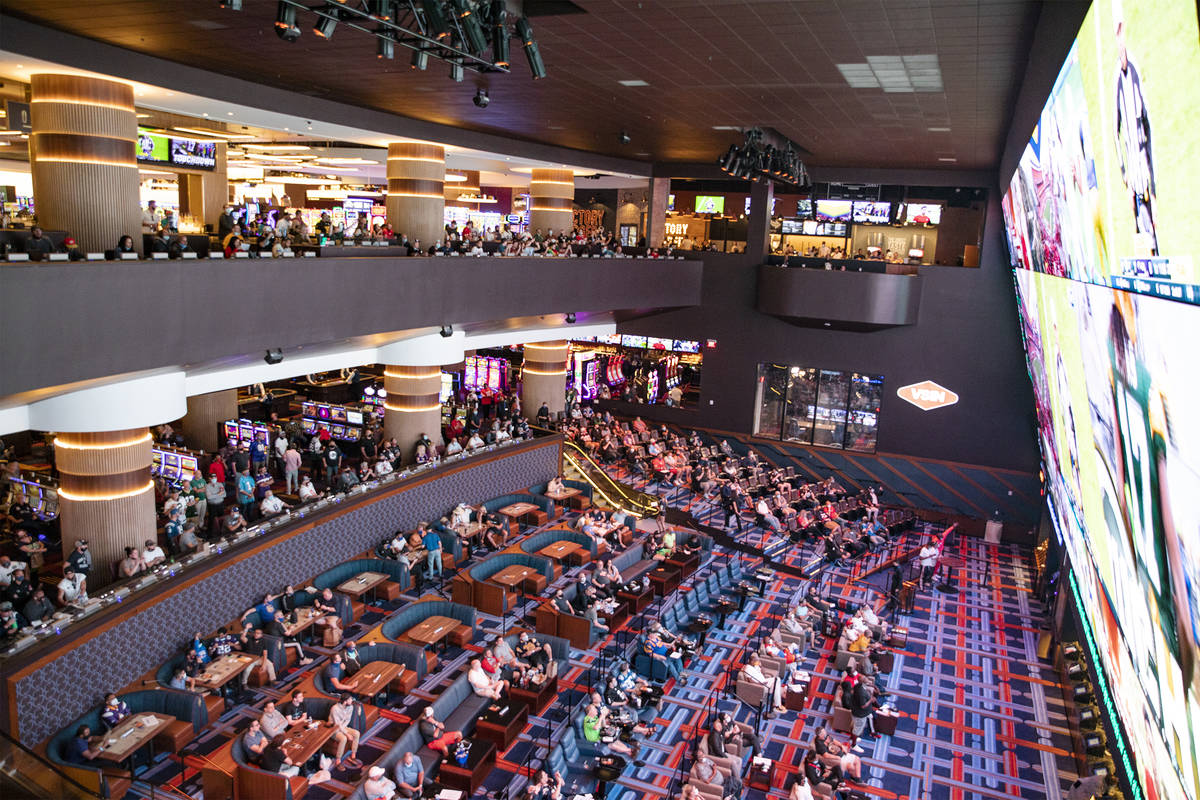 Spectators watch NFL Sunday at the new sportsbook at Circa in Las Vegas, Sunday, Nov. 1, 2020. ...