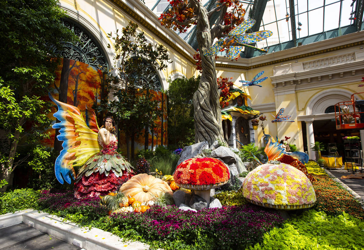 """A fairy and dragonflies are seen in the """"Into the Woods"""" fall display at the Bellagio Conservat ..."""