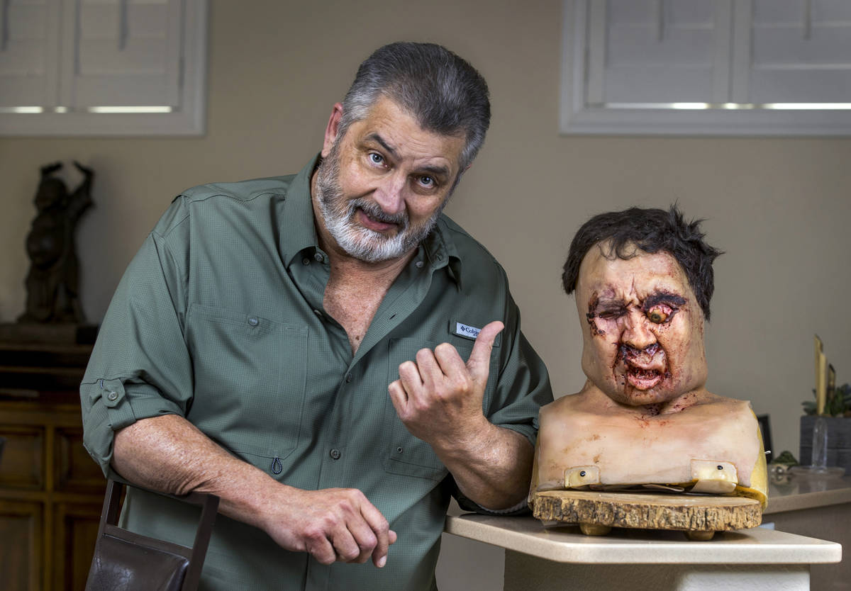 """Carl Ciarfalio poses with his prop head from an iconic scene in """"Casino."""" Ciarfalio was a stunt ..."""