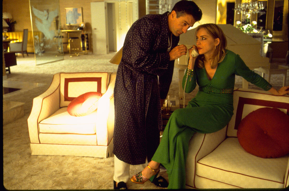 """Ginger (Sharon Stone) and Sam """"Ace"""" Rothstein (Robert De Niro) share a telephone at their home, ..."""