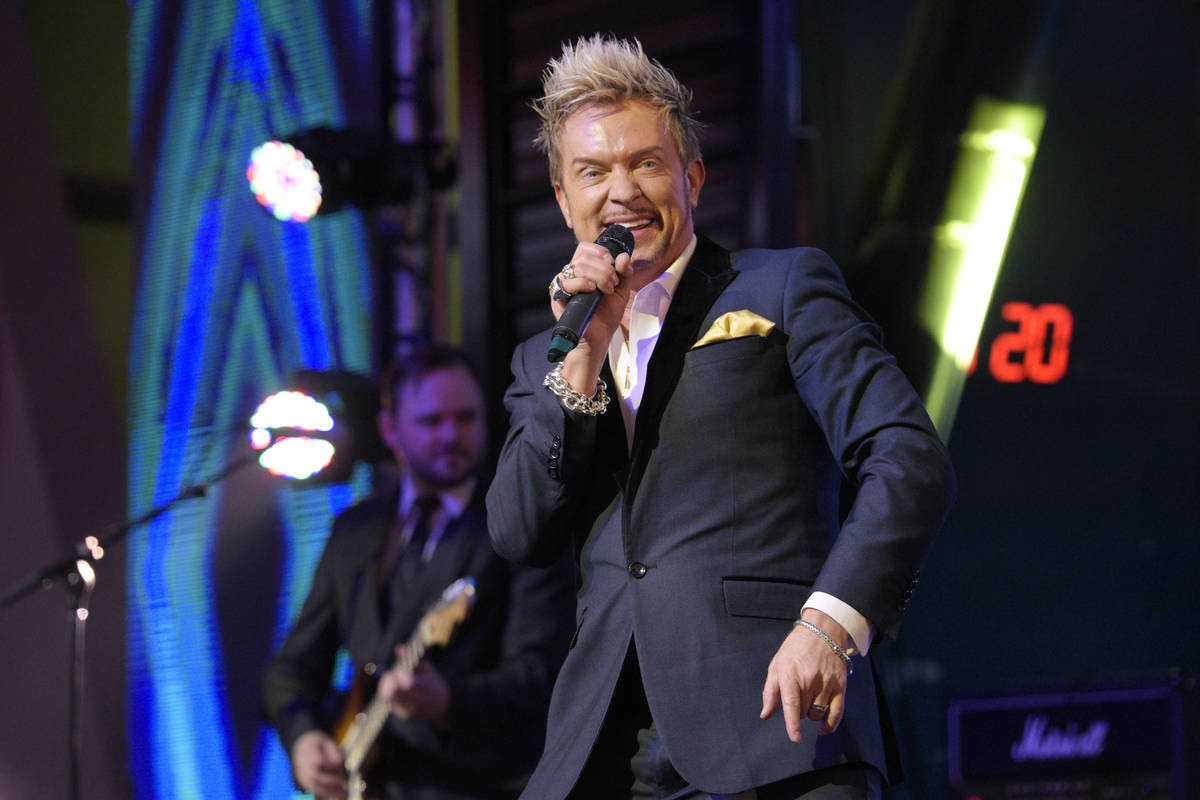 Zowie Bowie performs during New Year's Eve festivities at the Fremont Street Experience Saturda ...