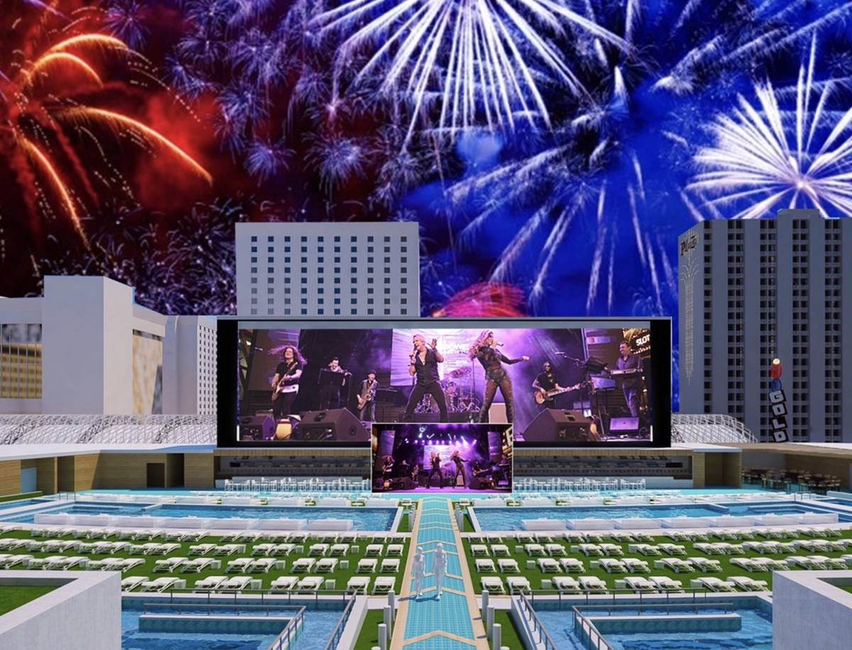 A rendering of the Stadium Swim layout for New Year's Eve, when Zowie Bowie heads up an all-sta ...