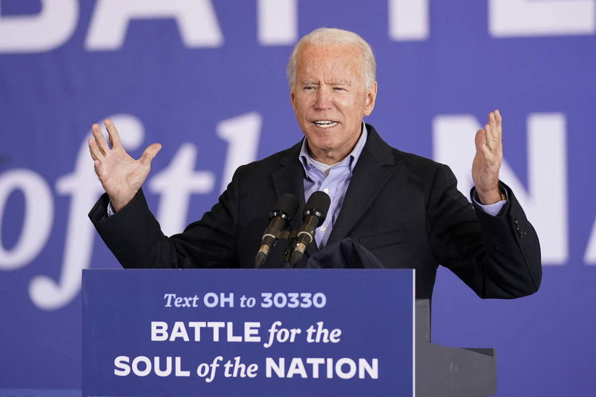Democratic presidential candidate former Vice President Joe Biden speaks at a rally at Clevelan ...