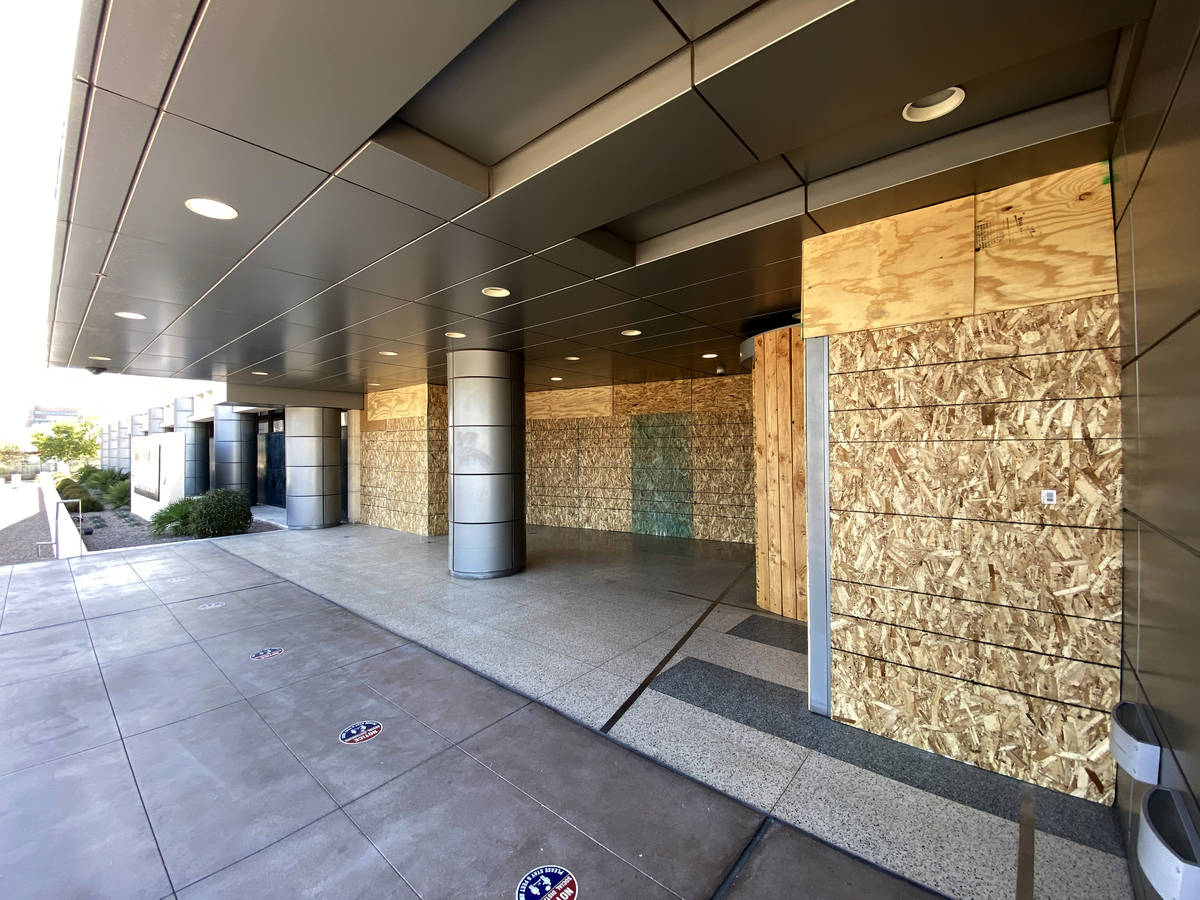 The Foley Federal Building in downtown Las Vegas is boarded up on Election Day Tuesday, Nov. 3, ...