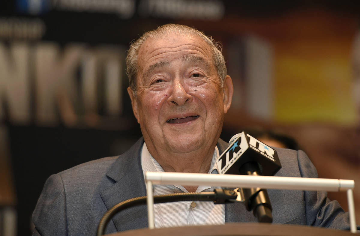FILE - This is an April 6, 2017, file photo showing boxing promoter Bob Arum speaking at a boxi ...