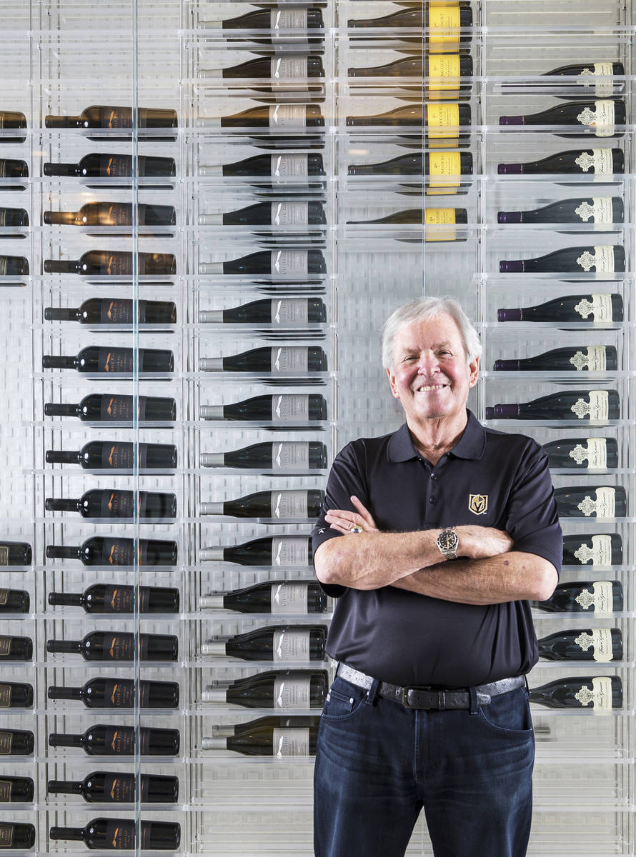 Golden Knights owner Bill Foley in his wine cellar at his home on Wednesday, May 15, 2019, at T ...