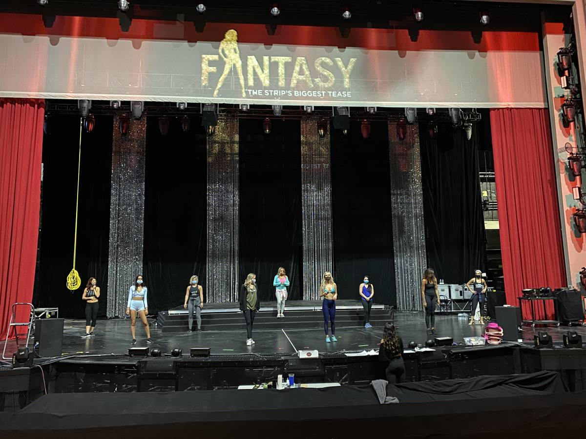 """A look at a rehearsal of """"Fantasy,"""" which has moved from 350-capacity Atrium Showroom to 1,500- ..."""